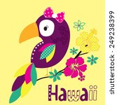 beautiful parrot with hawaii... | Shutterstock .eps vector #249238399