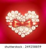 valentine s day pearl heart... | Shutterstock .eps vector #249258859