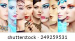 beauty collage. faces of women. ... | Shutterstock . vector #249259531