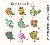 Set Of 9 Cute Birds In Vector....