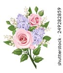 Vector Bouquet With Pink Roses...