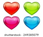 set of glass hearts. valentine... | Shutterstock . vector #249285079