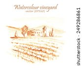 hand drawn watercolor old style ... | Shutterstock .eps vector #249286861