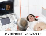 Small photo of Doctor doing 3d ultrasound on belly of pregnant woman in clinic