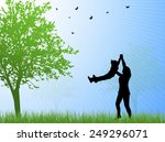 happy family silhouettes | Shutterstock .eps vector #249296071