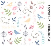 floral pattern with birds ... | Shutterstock .eps vector #249302011