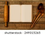 wooden kitchen utensils on the