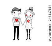 cute doodle couple | Shutterstock .eps vector #249317884