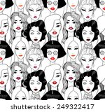 crowd of women with red lips... | Shutterstock . vector #249322417