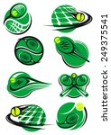 green tennis icons with a ball  ... | Shutterstock .eps vector #249375541