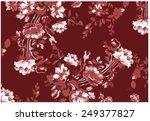 bohemian floral print | Shutterstock .eps vector #249377827