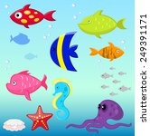 cartoon fishes vector set | Shutterstock .eps vector #249391171