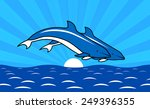 dolphins frolic in the ocean
