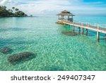 Tropical Hut And Wooden Bridge...