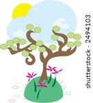 Abstract happy tree landscape - stock photo