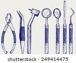 set of medical equipment tools...