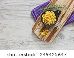 marinated corn in a bowl on a... | Shutterstock . vector #249425647