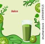 glass of kiwi juice with kiwi... | Shutterstock .eps vector #249449515