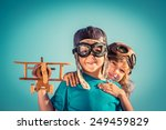 happy kids playing with vintage ... | Shutterstock . vector #249459829