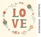 cute valentines day card with... | Shutterstock .eps vector #249474541