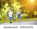 cute little boy and girl taking ... | Shutterstock . vector #249512551