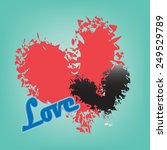 abstract red and black heart on ... | Shutterstock .eps vector #249529789