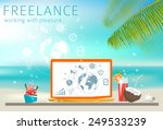 freelance concept. laptop on... | Shutterstock .eps vector #249533239
