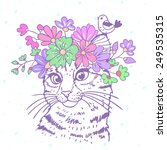 Stock vector beautiful and cute hand drawn kitty with a floral wreath on head 249535315
