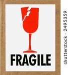 closeup of a fragile sign on a... | Shutterstock . vector #2495359