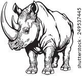 standing rhinoceros or rhino  ... | Shutterstock .eps vector #249537445