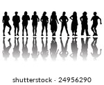 group of women in row in... | Shutterstock . vector #24956290