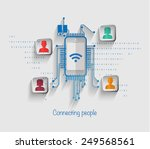 connecting people network on... | Shutterstock .eps vector #249568561