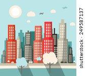 flat design city illustration | Shutterstock . vector #249587137