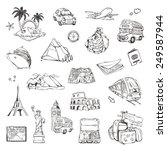 travel  sketches of icons... | Shutterstock .eps vector #249587944