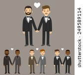 happy gay wedding couples... | Shutterstock .eps vector #249589114