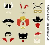 set of nine retro party masks... | Shutterstock .eps vector #249589399