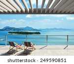 large terrace with loungers and ... | Shutterstock . vector #249590851
