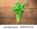 fresh parsley on wood background | Shutterstock . vector #249591154