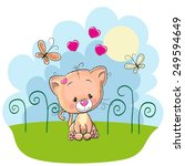 cute kitten with butterflies on ... | Shutterstock .eps vector #249594649
