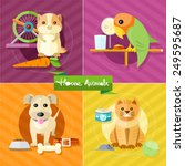 icon set with home animals... | Shutterstock .eps vector #249595687