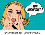 pop art cute retro woman in...   Shutterstock .eps vector #249599659