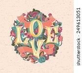 love word on vintage patterned... | Shutterstock .eps vector #249613051