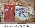 Grunge Urban Scene With Door...