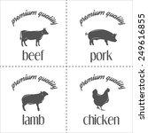 set of vintage butchery meat... | Shutterstock .eps vector #249616855
