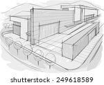 architectural sketch of building | Shutterstock .eps vector #249618589