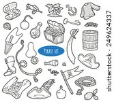 vector set of pirate items ... | Shutterstock .eps vector #249624337