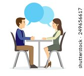 man and woman on interview... | Shutterstock .eps vector #249656617