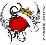 heart ribbon tattoo in vector... | Shutterstock .eps vector #249657424