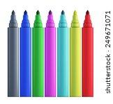 set of colored felt tip pens... | Shutterstock . vector #249671071