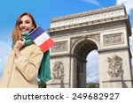 happy woman travel in paris ... | Shutterstock . vector #249682927